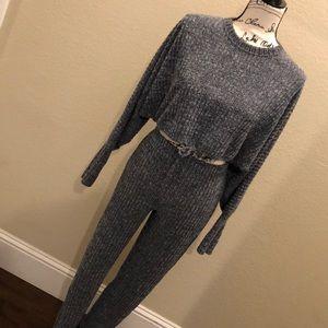 Fashion Nova Crop Top & Pants Small (EUC)